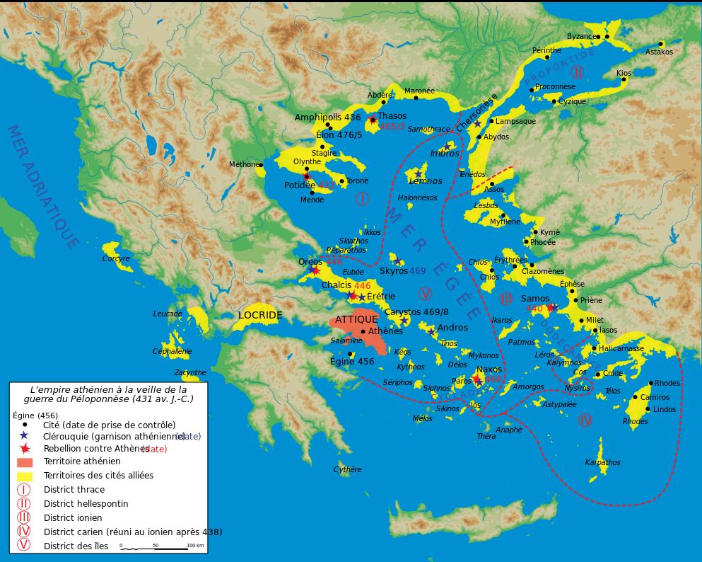 Map athenian empire 431 BCfr Trire Wikipdia Karten Pinterest