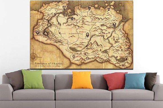 Video game Elder Scrolls Skyrim canvas Game room décor Skyrim ...