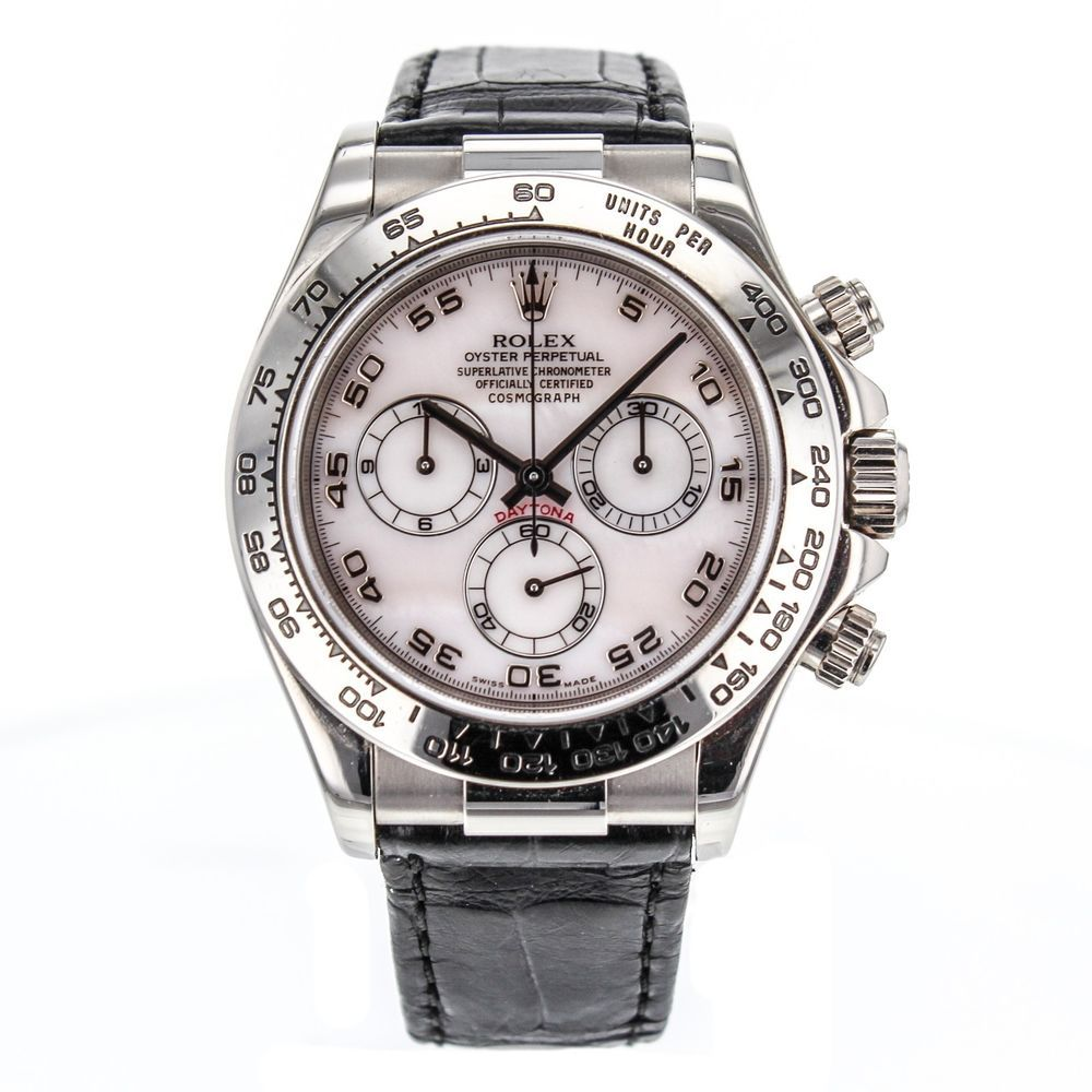 687a0b002c6 Rolex Daytona Cosmograph 18k White Gold Watch Mother of Pearl Dial 116519