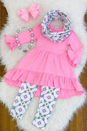 Toddler Kids Baby Girls Rainbow Horse Clothes T-shirt Top Dress+Pants Outfit Set