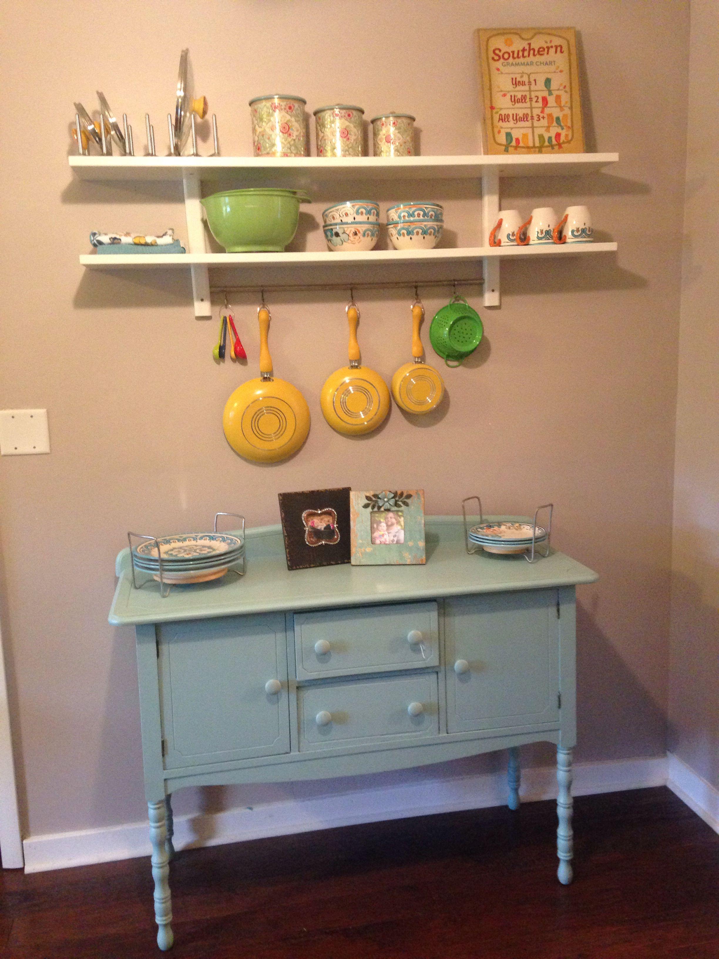 ikea varde wall shelf with 5 hooks over blue refinished buffet