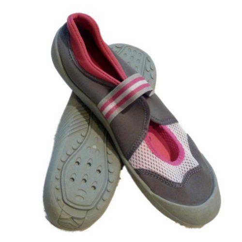 Beachsocks Womens Pink & Gray Aqua Socks Water & Beach Shoes