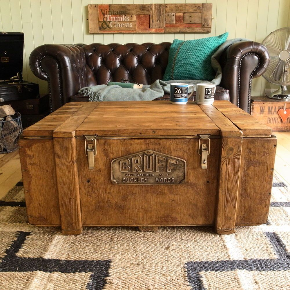 INDUSTRIAL Vintage FACTORY Plank CHEST Trunk COFFEE TABLE