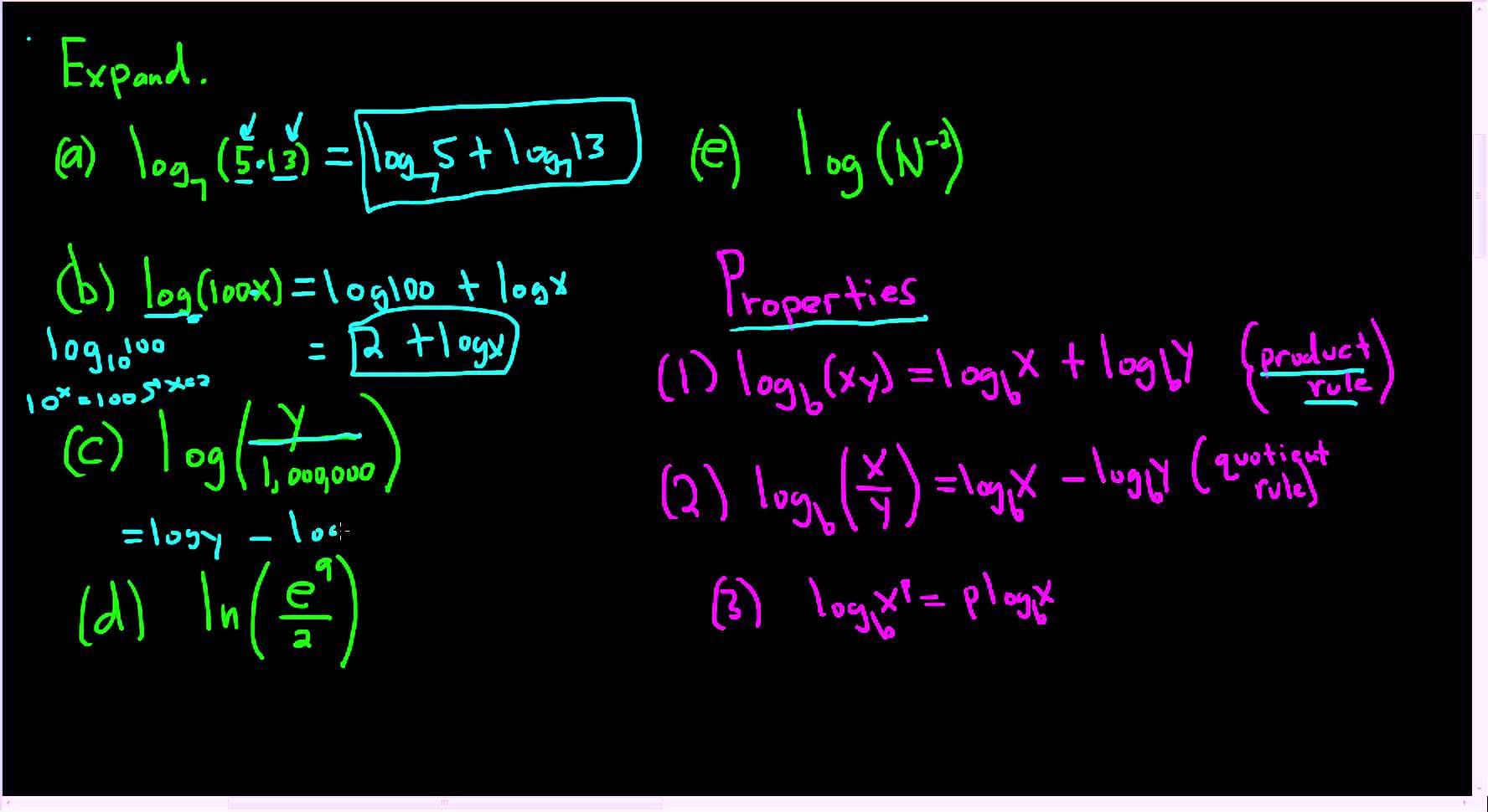 Expanding Using The Properties Of Logarithms Examples