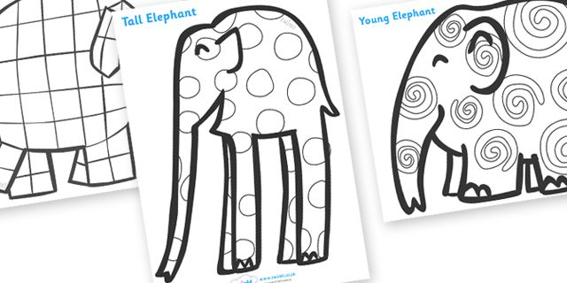 Twinkl Resources >> Elmer Patterns Colouring Sheets