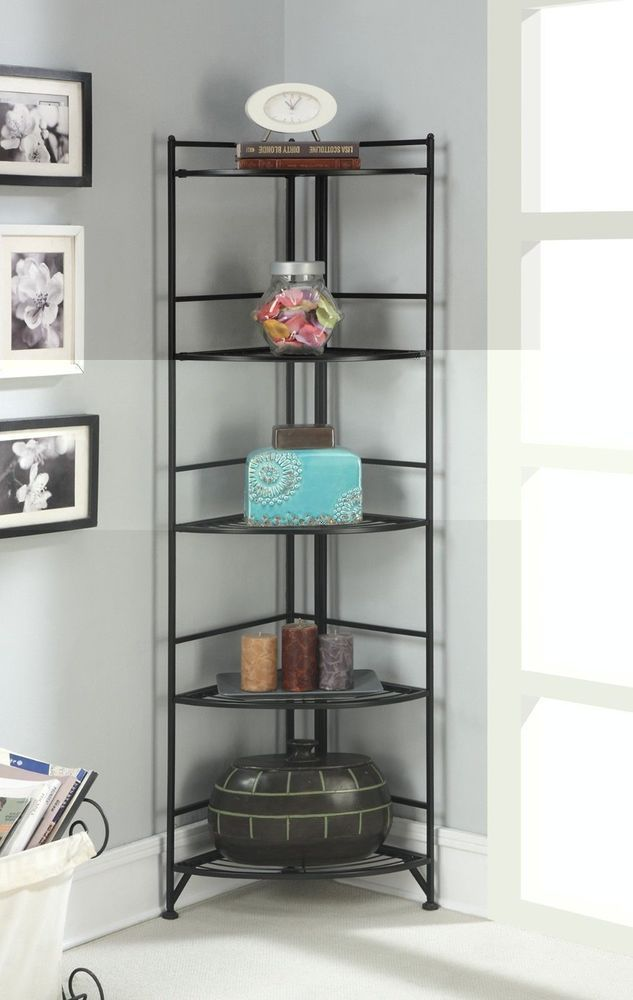 New Black Metal Corner Etagere 5 Shelf Folding Stand Home Decor