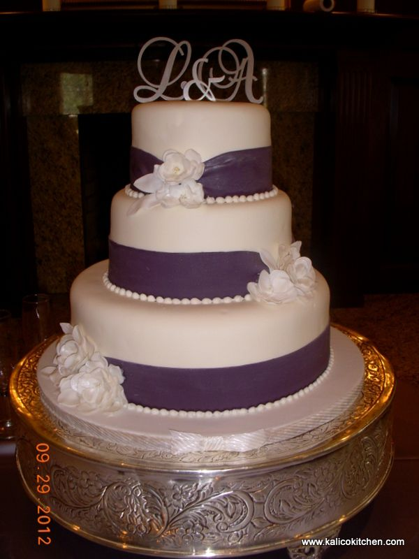 3tier wedding cakes wedding cakes 3 tier fondant wide purple ribbons 3 1109