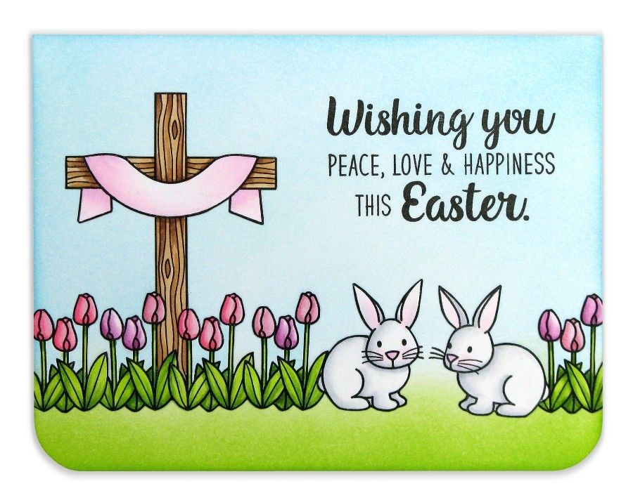 Easter wishes tulips bunny cardmail chimp easter wishes