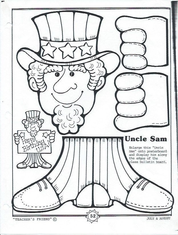 color and make your own Uncle Sam display kids craft and science