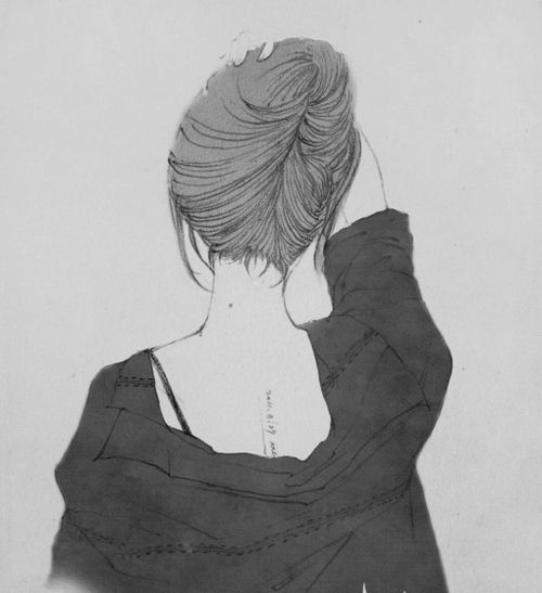 Anime Art Girl Black And White Hair Bun Spine Back Tattoo