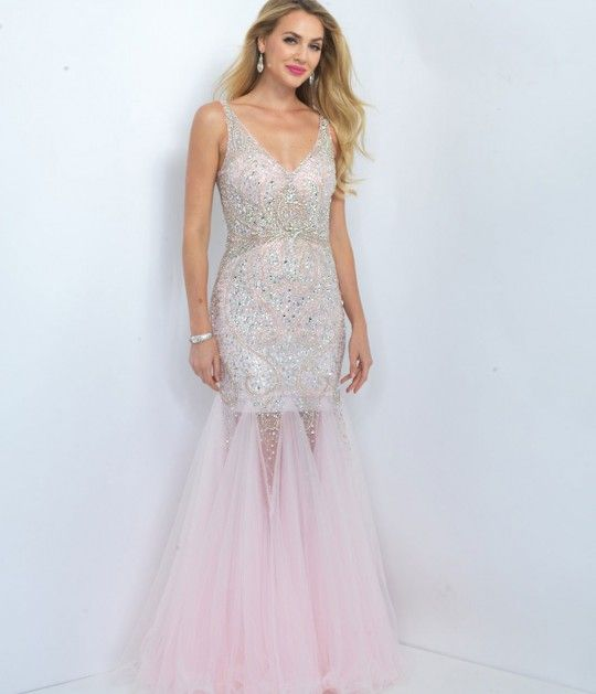 Blush Prom 11106 Carnation Pink Sheer Sequin Tulle Mermaid Dress 2016 Prom Dresses