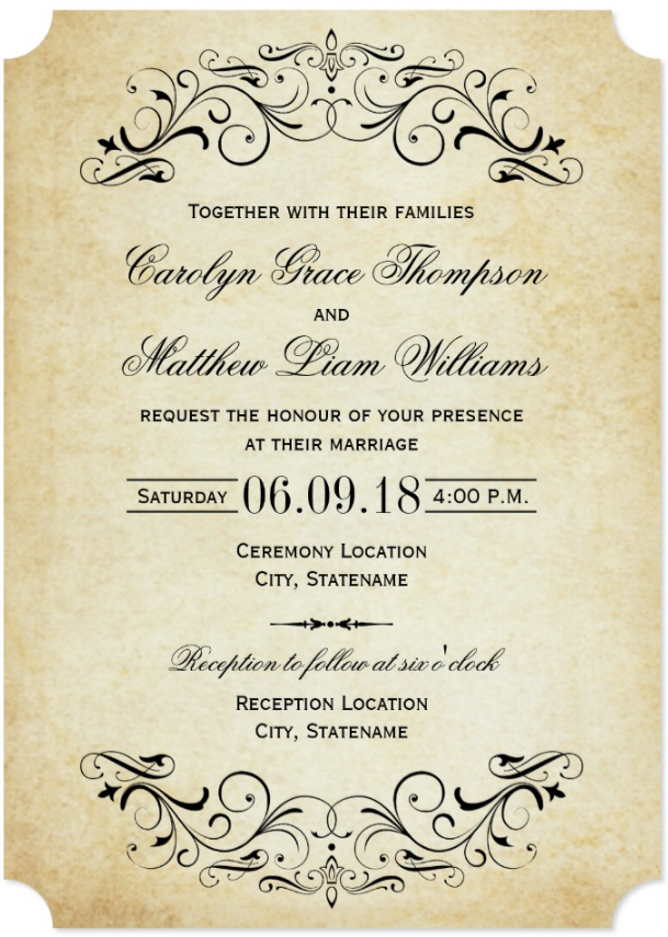 Vintage Black Flourish Wedding Invitation Zazzle Com In 2020 Vintage Wedding Invitations Templates Free Wedding Invitation Samples Free Wedding Invitation Templates