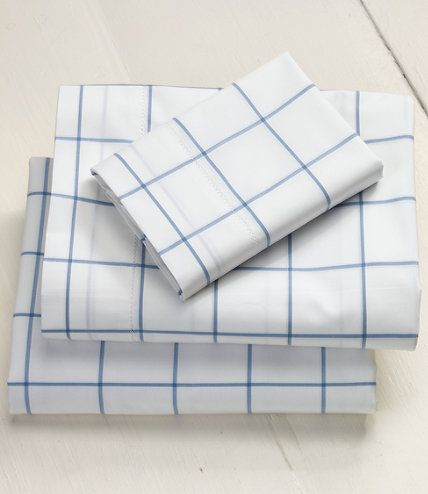 280 Thread Count Pima Cotton Percale Sheet Ed Windowpane Sheets Free Shipping At L Bean