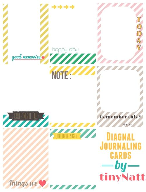 Diagonal journalling card -- free printable from Natt Smith #ProjectLife