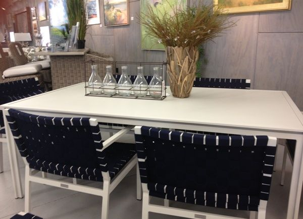 Brown Jordan Swim Table With Aluminum Top And Flex Dining Chairs