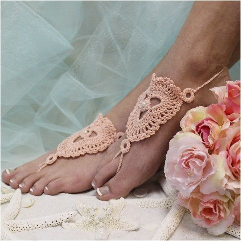 BLUSH crochet barefoot sandals Barefoot Peach and Sandals