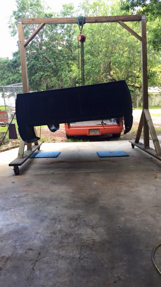 Homebuilt Wooden Gantry Crane For Bed Lifting Gearhead Tools