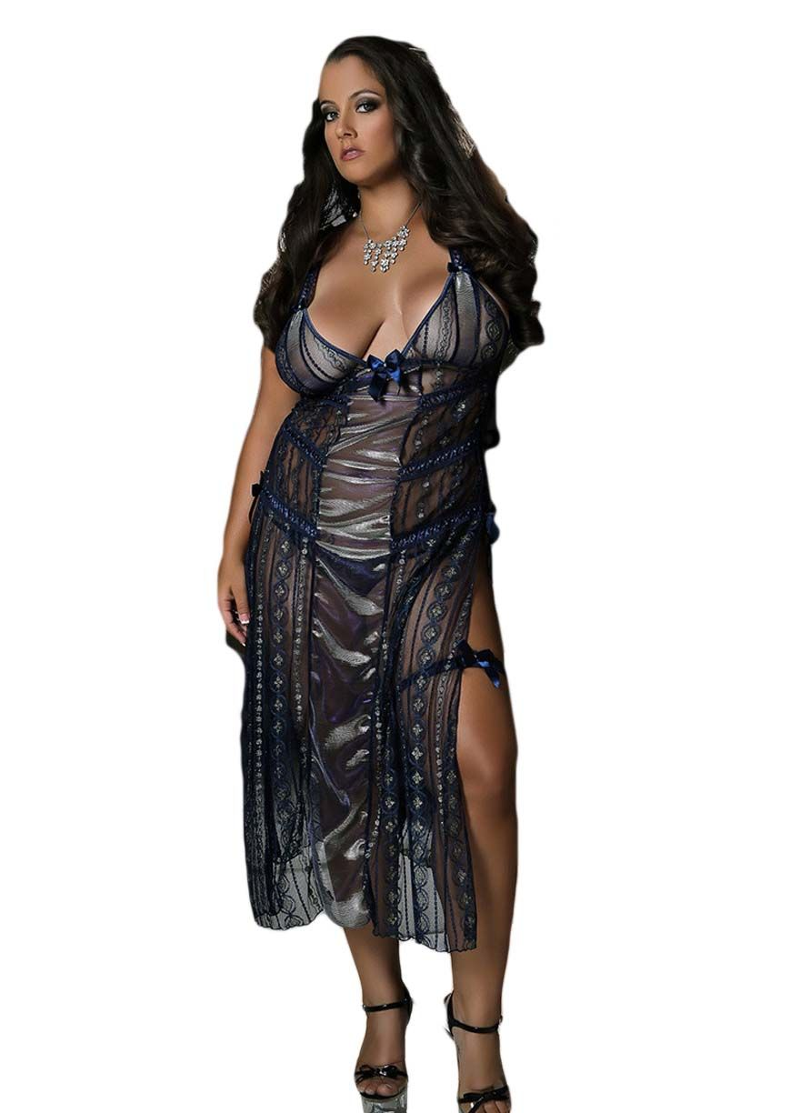 Double Slit Sheer Mesh Long Gown Gowns   Robes Lingerie Sexy Lingeire  aae59ed17