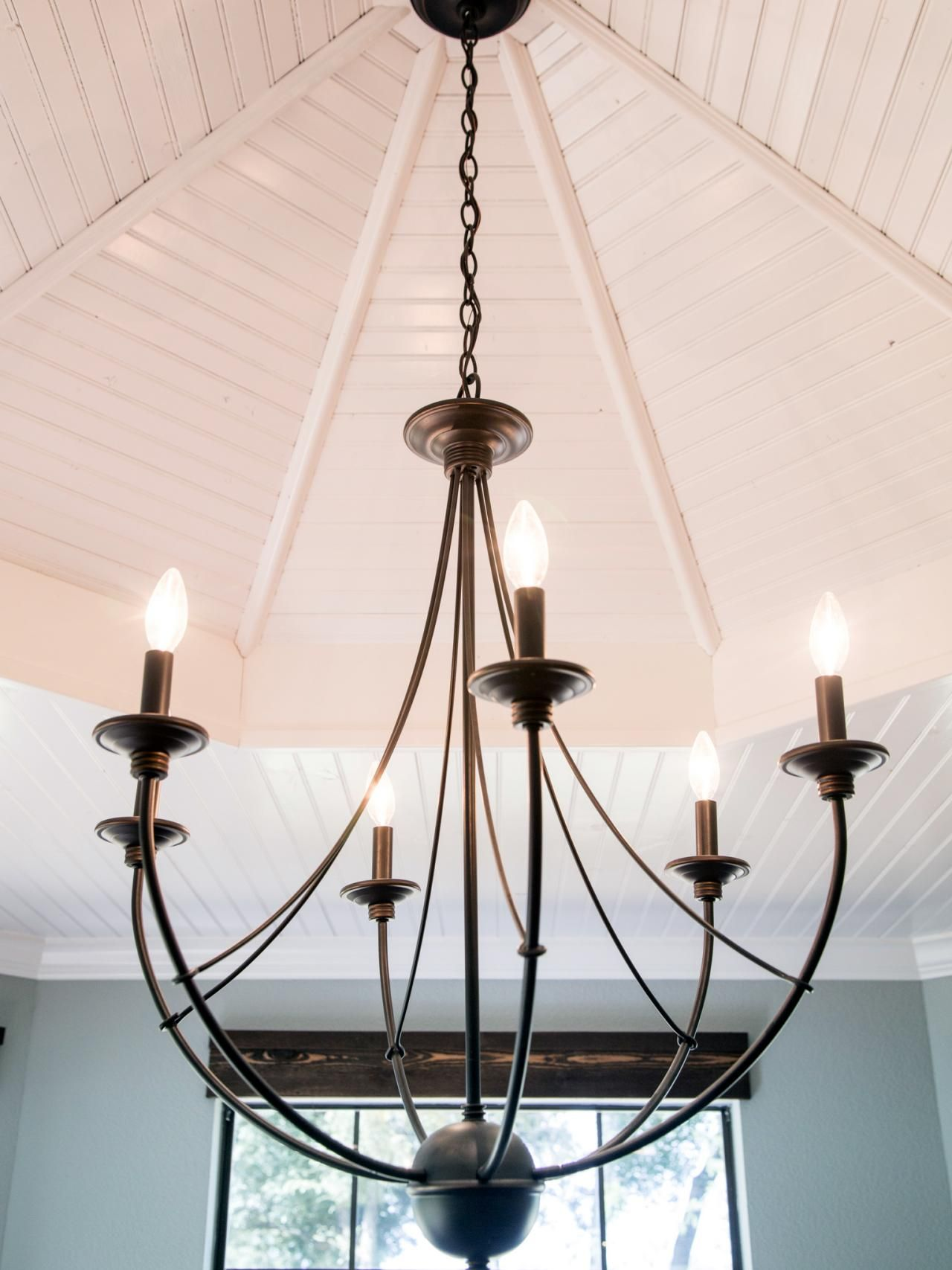 Fixer upper yours mine ours and a home on the river for Casual dining chandeliers
