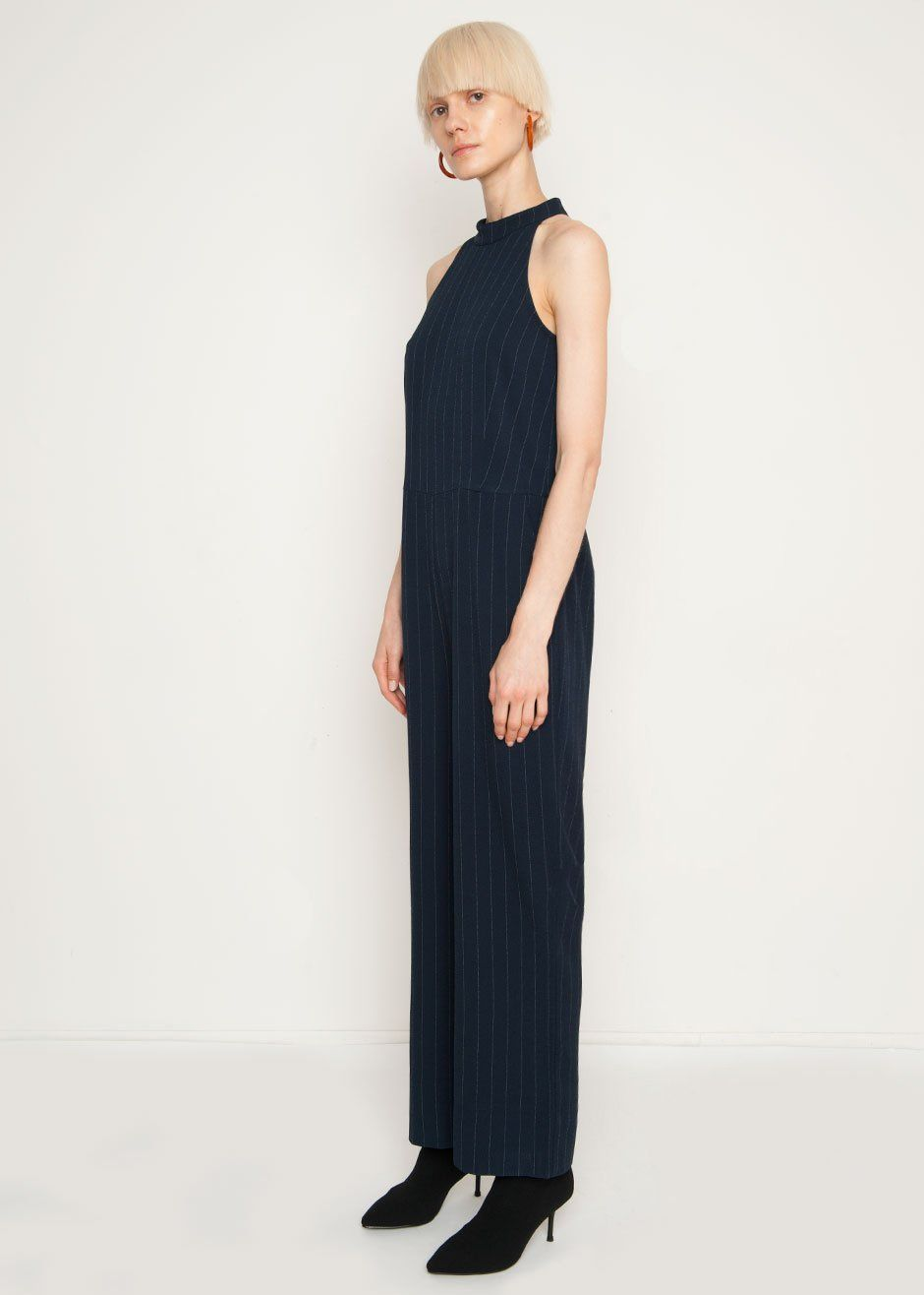 09c634a6ea6f Navy Pinstriped Sleeveless Jumpsuit w Halter Neck   Wide Legs. 2 Side  Pockets