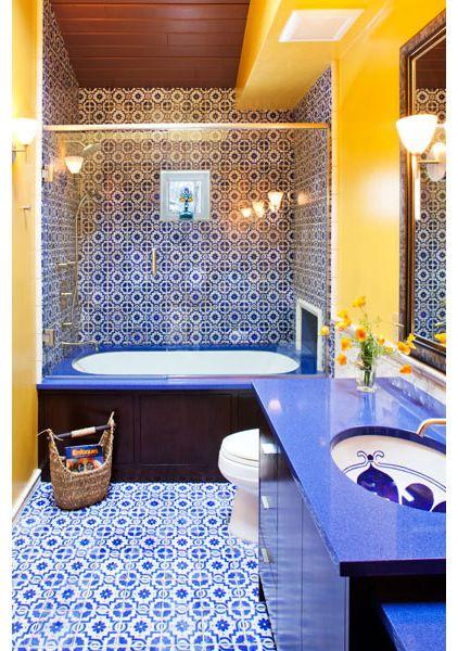 Mediterranean Blue Bathroom By Susan E Brown Interior Design Gorgeous Sink Blue Bathroom Decor Yellow Bathrooms Yellow Bathroom Decor