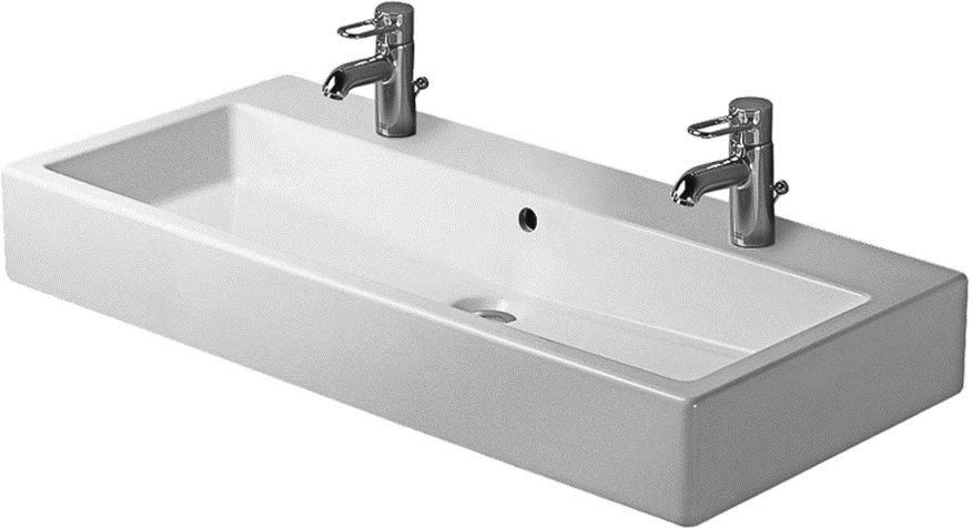 Charmant Attractive Double Faucet Bathroom Sink Part 3   Duravit Trough Sink With  Two Faucets