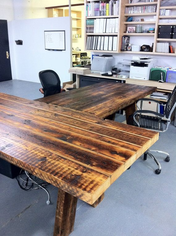 Southern Pine reclaimed Office T Tables, Handmade Hardwood ...