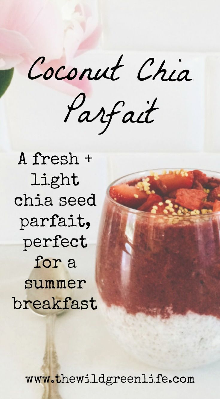 This simple recipe is best served with fruit, or topped with a fresh berry smoothie. Garnish with bee pollen and goji berries. For chocolate chia parfait, you can add raw cacao powder, which is the best plant based source of iron! Click through to read more, or pin to save for later!