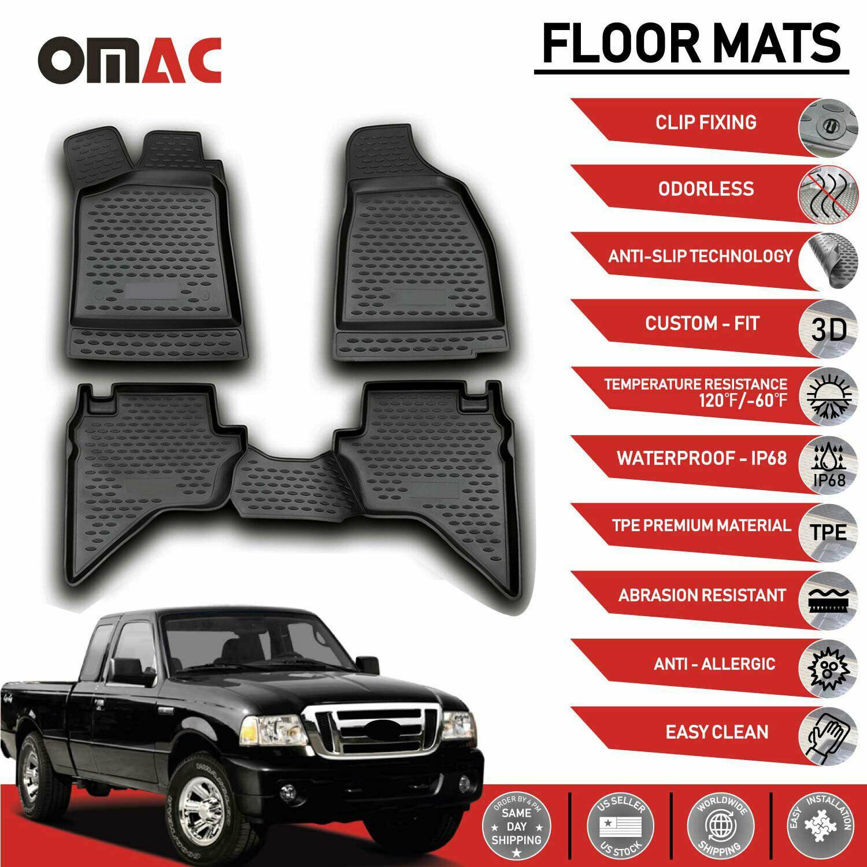 Floor Mats Liner 3d Molded Black 4 Pcs Fits Ford Ranger 2006 2012 Ebay In 2020 Ford Ranger Floor Mats Vw Eos