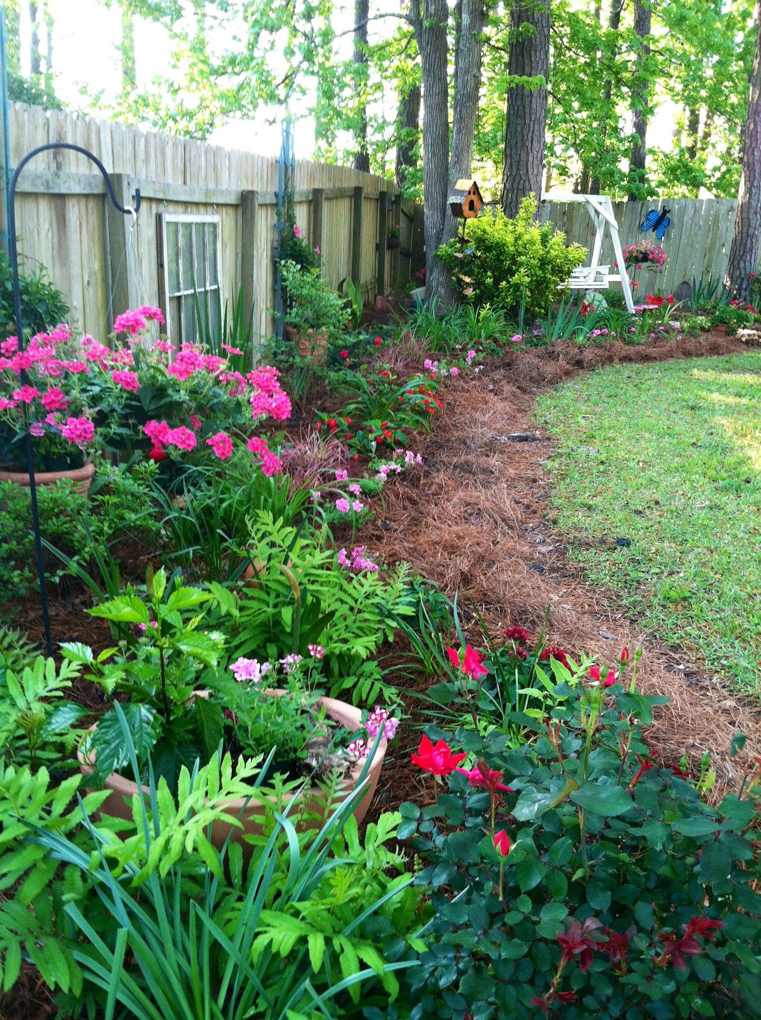 A beautiful way to hide an ugly side yard fence ... on Backyard Landscaping Along Fence id=44245