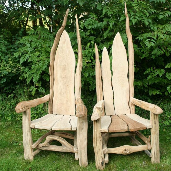rustikale-Gartenmöbel-Throne-Massivholz-Treibholz-Eichenholz - gartenmobel selber bauen rattan