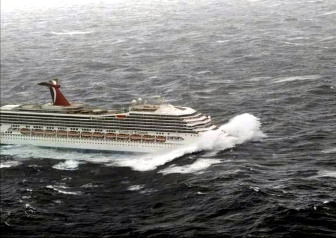 CRUISE SHIP HEADING INTO HEAVY SEAS  NOSE PLOWS THRU HUGE