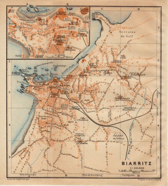1914 Biarritz France Antique Map Vintage Lithograph Bay of