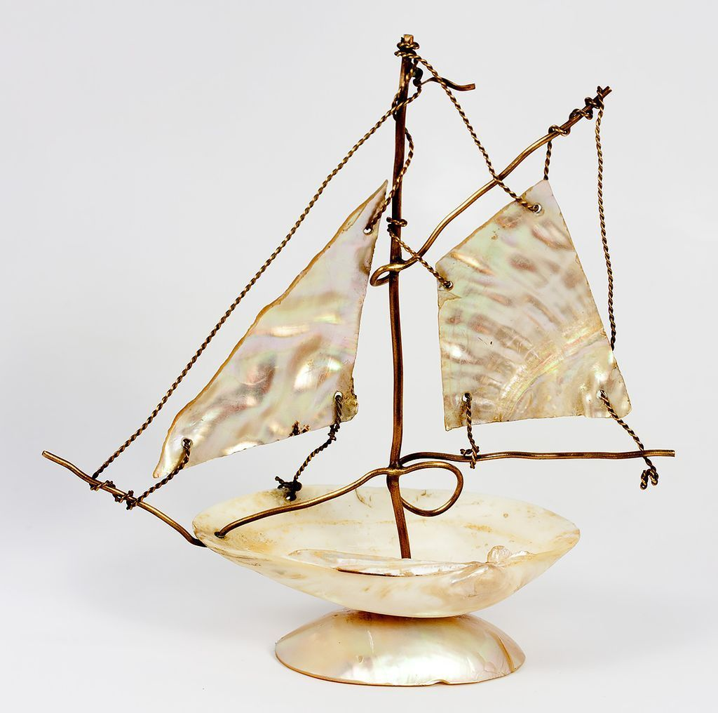 Antique French Mother of Pearl and Brass Wire Sail Boat is a Pocket Watch Stand, Holder