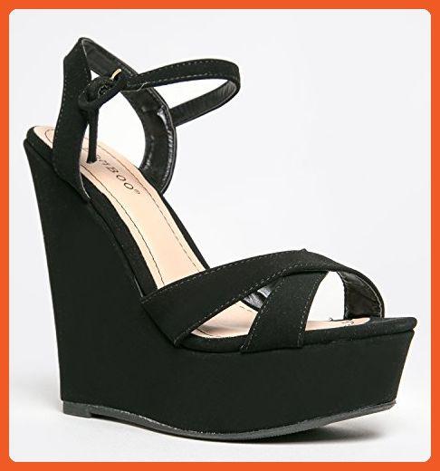 Bamboo Eliza 25 Womens Platform Wedge Heel Sandals,Black