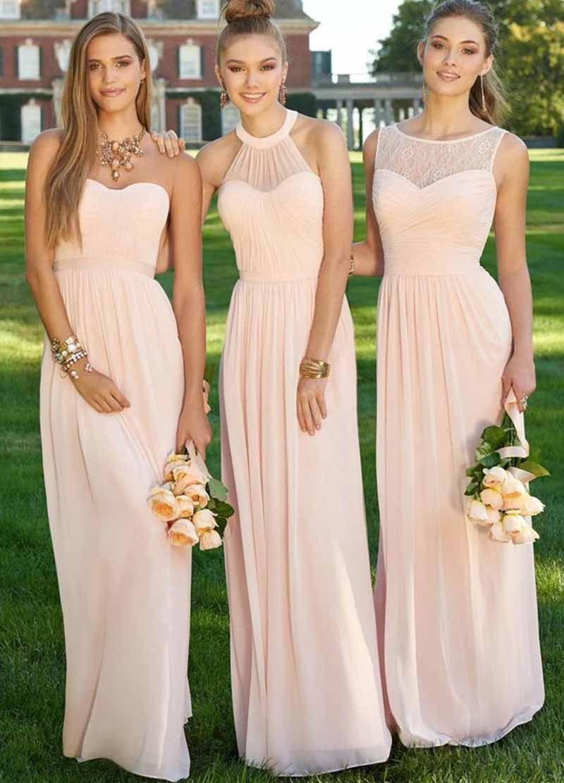Elegant long light pink bridesmaid dress halter pleat chiffon
