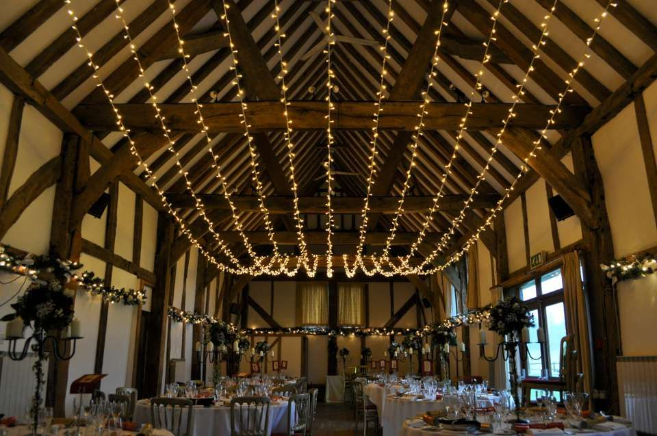 A huge single swag canopy of lights