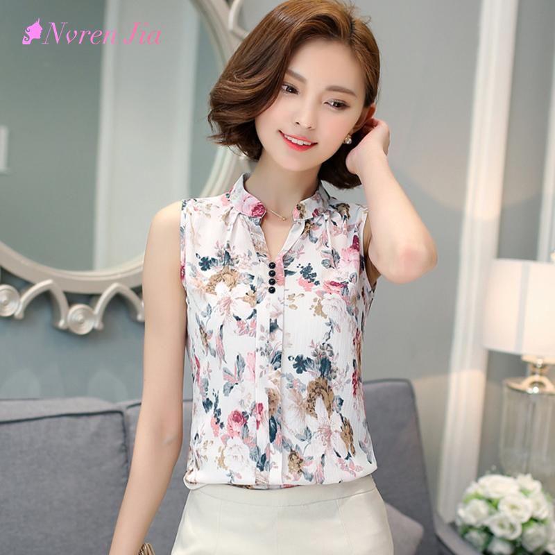 cb0c7e9914 2017 Nuevo Verano Tops mujeres Moda Blusa de La Gasa Impresa Blusa Sin  Mangas Estampado de flores Blusas de Las Señoras de Oficina Camisa