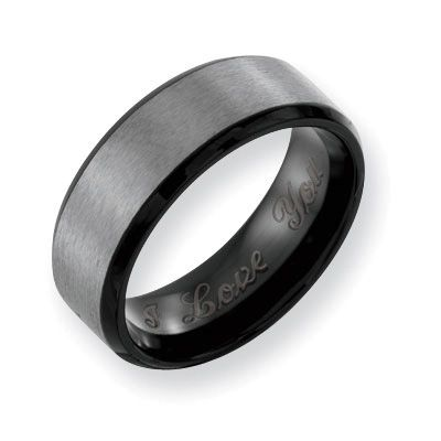Men S 8 0mm Engraved Black Ion Plated Anium Brushed Wedding Band 27 Characters