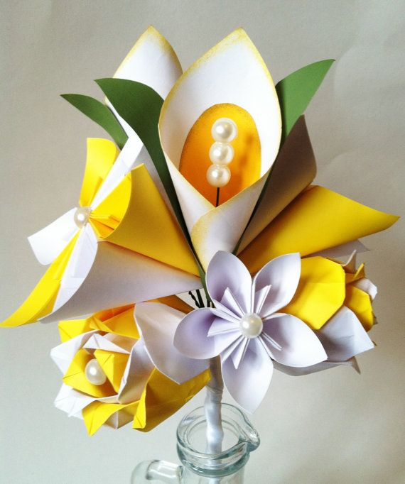 Calla Lily Paper Flower Bouquet Spring Wedding First Anniversary
