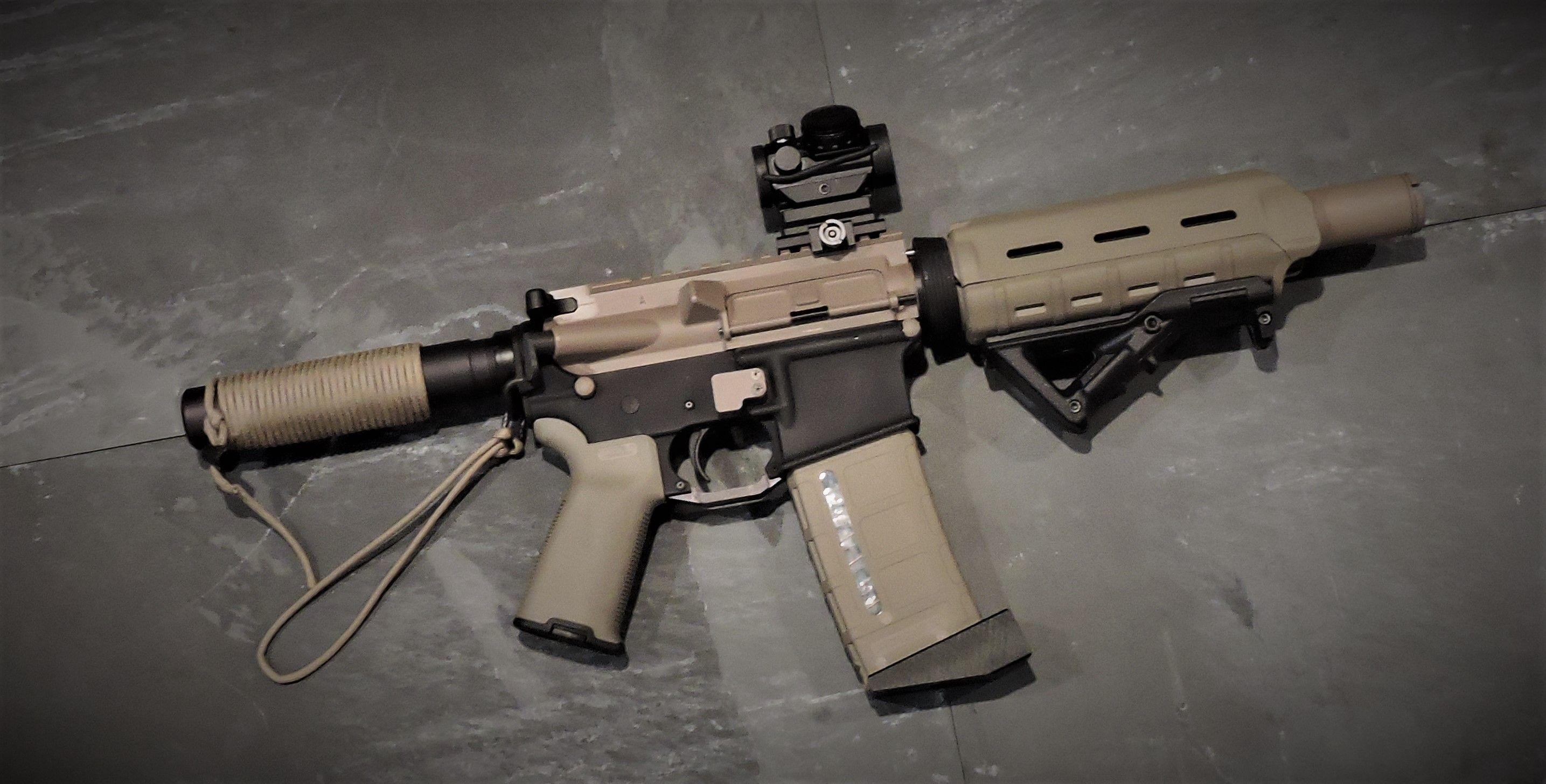 FDE AR pistol cerakote parts paracord buffer tube cheek pad