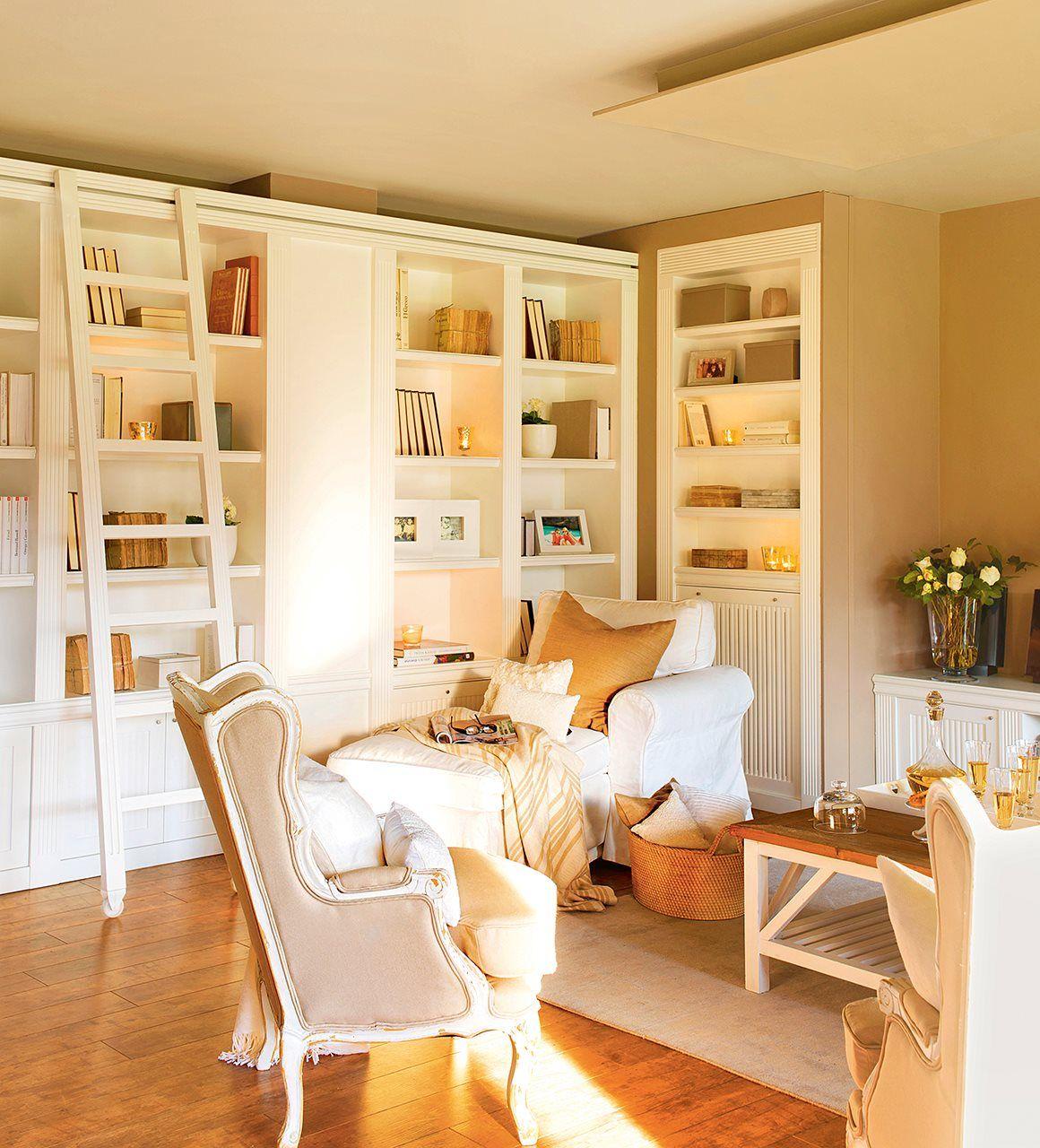 A medida salones sal n acogedor muebles a medida y for Librerias salon modernas