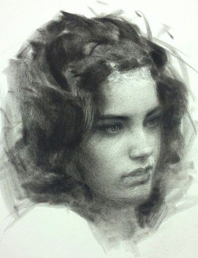Jeremy Lipking, black PanPastel and compressed charcoal pencil on paper {figurative beautiful female head woman face portrait drawing}