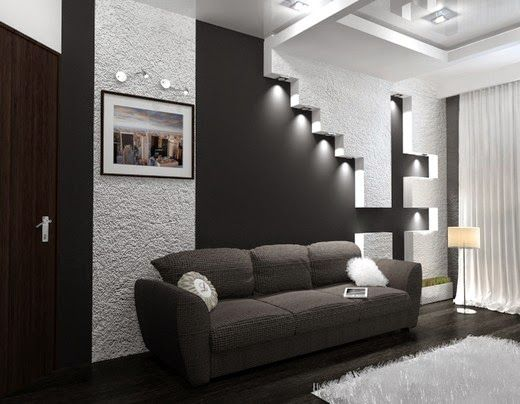 black and white interior with wall panel for high-tech style