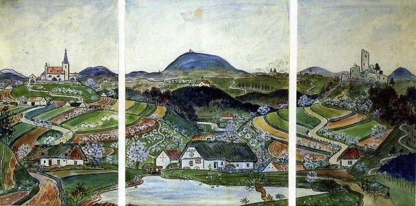 Josef Lada Studie K Triptychu Ceska Krajina 1934 Kolorovana Kresba