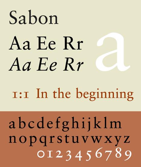 Font sample specimen: Sabon  Selection: www rotterdam