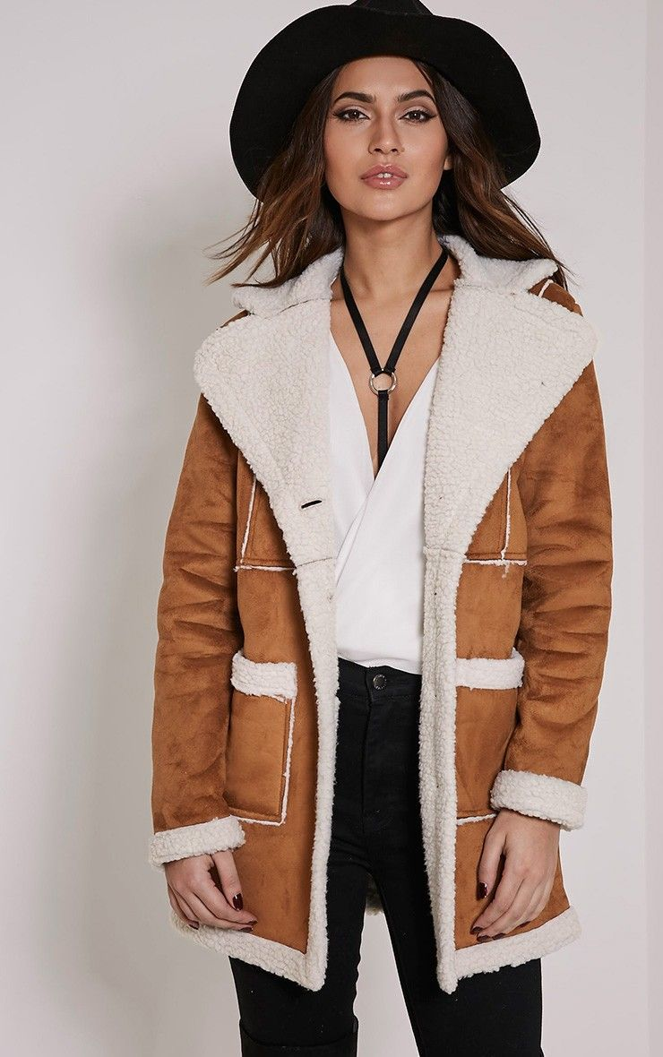 Anisa Tan Faux Suede Two Tone Shearling Coat Image 2
