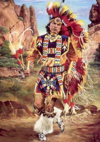 Fancy dance is a style of dance some believe was originally created by the Ponca tribe in the 1920s and 1930s, in an attempt to preserve their culture and religion. It is loosely based on the War dance. http://bit.ly/P5hXKf [Artwork by Joseph S. Venus] #NativeDances +Google+