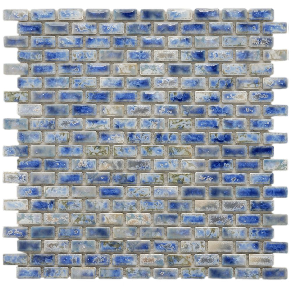 Somertile 11 75x11 75 Inch Samoan Subway Neptune Blue Porcelain Floor And Wall Tile 10 Tiles 9 6 Sqft Case Samoan Subway Porcelain Mosaic Porcelain Mosaic Tile Mosaic Flooring