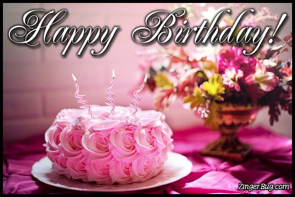 Happy Birthday Flower Cake Glitter Graphic Greeting Comment Meme
